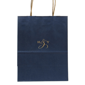 Our custom Metallic Blue Gift Bag with Satin 18 Kt. Gold Foil can be personalized to match your party's exact theme and tempo.