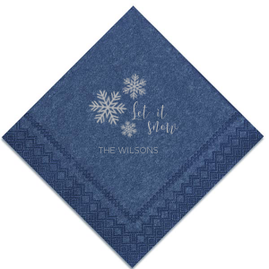 For Your Party's personalized Navy Cocktail Napkin with Satin Sterling Silver Imprint Foil Color has a Snowing graphic and is good for use in Christmas or Holiday themed parties and can be personalized to match your party's exact theme and tempo.