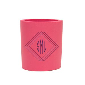 ForYourParty's elegant Hot Pink Round Can Cooler with Matte Eggplant Ink Cup Ink Color has a Diamond Frame graphic and is good for use in Home, Wedding and Anniversary themed parties and are a must-have for your next event—whatever the celebration!