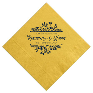 Our personalized Sunflower Cocktail Napkin with Matte Navy Foil has a Floral Frame graphic and is good for use in Wedding and Anniversary themed parties and can be personalized to match your party's exact theme and tempo.