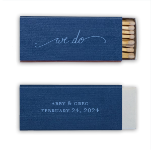 ForYourParty's chic Linen Navy Blue Candle Matchbox with Satin French Blue Foil Color has a We Do graphic and is good for use in Words, Wedding themed parties and will impress guests like no other. Make this party unforgettable.