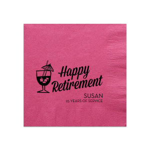 Custom Fuchsia Cocktail Napkin with Matte Black Foil Color has a Tiki Drink 2 graphic and is good for use in Drinks, Beach/Nautical themed parties and can be customized to complement every last detail of your party.