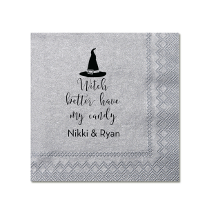 Our beautiful custom Galvanized Silver Cocktail Napkin with Matte Black Foil has a Witch's Hat graphic and is good for use in Halloween themed parties and will add that special attention to detail that cannot be overlooked.