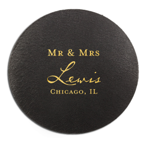 The ever-popular White Round Coaster with Shiny 18 Kt Gold Foil can be personalized to match your party's exact theme and tempo.