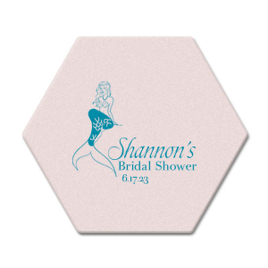 Our personalized Blush with Kraft back Nouveau Coaster with Satin Teal / Peacock Foil has a Mermaid graphic and is good for use in Trendy, Beach/Nautical, Outdoors themed parties and will look fabulous with your unique touch. Your guests will agree!