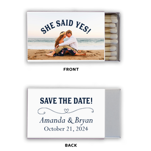 Click Customize More to Upload your photo and make edits. Custom White Classic Photo Matchbox with Matte Navy Ink Print Color has a Simple Heart Flourish graphic and is good for use at Engagement parties and couldn't be more perfect. It's time to show off your impeccable taste.