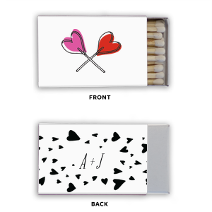 Our personalized Photo/Full Color Matchbox with Matte Black Ink Digital Print Colors has a Confetti Heart Pattern graphic and is good for use in Wedding, Full Bleed, Hearts themed parties and will impress guests like no other. Make this party unforgettable.