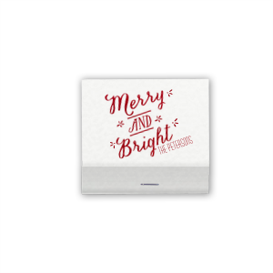 ForYourParty's elegant Natural White 30 Strike Matchbook with Shiny Convertible Red Foil has a Merry and Bright graphic and is good for use in Christmas, Holiday, Stars themed parties and will impress guests like no other. Make this party unforgettable.