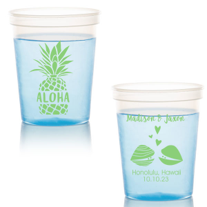 ForYourParty's chic Lime 16 oz Stadium Cup with Matte White Ink Ink Color has a Aloha graphic and a Clams graphic and is good for use in Animals, Beach/Nautical, Wedding themed parties and can be personalized to match your party's exact theme and tempo.
