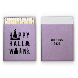Personalized Stardream Lavender Classic Matchbox with Matte Black Foil has a Witch's Hat graphic and is good for use in Halloween themed parties and will impress guests like no other. Make this party unforgettable.