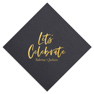 The ever-popular Soft Black Luncheon Napkin with Matte White Foil will impress guests like no other. Make this party unforgettable.