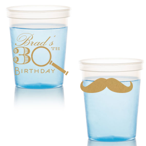 Personalized Gold 16 oz Stadium Cup with Matte Black Ink Cup Ink Colors has a Magnifying Glass graphic and a Mustache 2 Solid graphic and is good for use in Birthday, Fashion, Father's Day themed parties and can be customized to complement every last detail of your party.