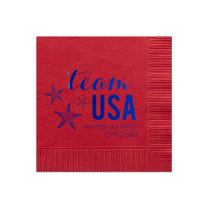 Our custom Convertible Red Cocktail Napkin with Shiny Royal Blue Foil has a Star Trio graphic and is good for use in USA, Olympic, Patriotic themed parties and will give your party the personalized touch every host desires.