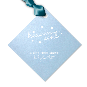The ever-popular Stardream Sky Blue Luggage Gift Tag with Matte White Foil are a must-have for your next event—whatever the celebration!