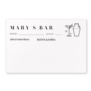ForYourParty's chic Poptone Mint Recipe Card with Shiny 18 Kt Gold Foil has a Martini and Shaker graphic and is useful to keep that favorite drink recipe on hand or can be gifted to that special someone--whatever the celebration!