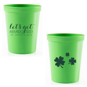 ForYourParty's personalized Lime 16 oz Stadium Cup with Matte Spruce Cup Ink Colors has a Clovers graphic and is good for use in St. Patricks Day, Holiday themed parties and can't be beat. Showcase your style in every detail of your party's theme!