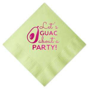 Custom Honeydew Luncheon Napkin with Shiny Fuchsia Foil has a Avocado graphic and is good for use in Food themed parties and will make your guests swoon. Personalize your party's theme today.