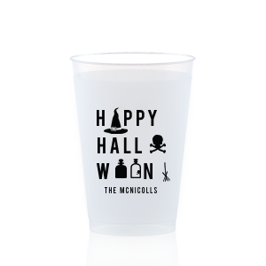 Our personalized Purple 12 oz Frost Flex Color Cup with Matte Black Ink Cup Ink Colors has a Witch's Hat graphic and is good for use in Halloween themed parties and will look fabulous with your unique touch. Your guests will agree!