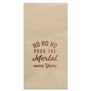 The ever-popular Merlot Cocktail Napkin with Shiny 18 Kt Gold Foil will give your party the personalized touch every host desires.