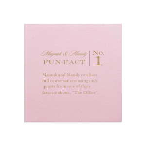 The ever-popular Ballet Pink Cocktail Napkin with Satin Copper Foil will look fabulous with your unique touch. Your guests will agree!