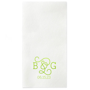 Personalized Moss Green Linen Like Cocktail Napkin with Matte White Foil will look fabulous with your unique touch. Your guests will agree!