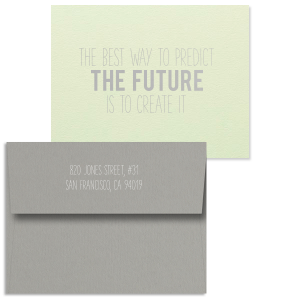 ForYourParty's elegant Poptone Mint Classic Note Card with Satin Sterling Silver Foil and Matte White Foil will give your party the personalized touch every host desires.