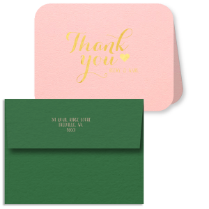 Our custom Poptone Ballet Pink Classic Note Card with Envelope with Shiny 18 Kt Gold Foil has a Solid Heart graphic and is good for use in Wedding and Anniversary themed parties and will add that special attention to detail that cannot be overlooked.
