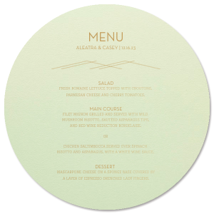 The ever-popular Poptone Mint Classic Menu with Satin 18 Kt. Gold Foil has a Mountain Flourish graphic and is the perfect combination for your Industrial Modern theme and will look fabulous with your unique touch. Your guests will agree!