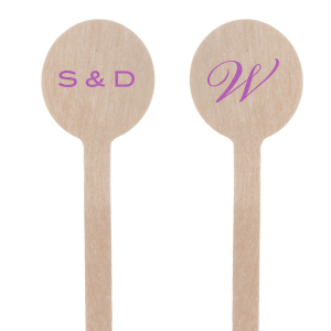 Custom Satin Plum Round Stir Stick with Satin Plum Foil Color can be personalized to match your party's exact theme and tempo.