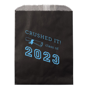 ForYourParty's elegant Royal Blue Gloss Goodie Bag with Shiny Sky Blue Foil has a Graduation Scroll graphic and is good for use in Graduation themed parties and can be customized to complement every last detail of your party.
