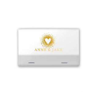 Custom Shiny White 40 Strike Match with Shiny 18 Kt Gold Foil Color has a Dotted Heart graphic and is good for use in Hearts, Wedding themed parties and will add that special attention to detail that cannot be overlooked.