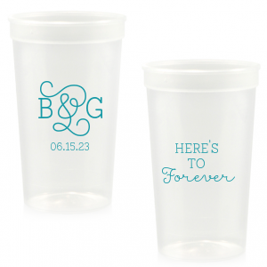 Custom Teal 16 oz Stadium Cup with Silver Ink Cup Ink Colors can be personalized to match your party's exact theme and tempo.