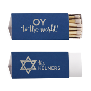 Personalized Natural Royal/Lt. Navy Triangle Matchbox with Shiny Sky Blue Foil Color has a Star 1 graphic and is good for use in Jewish Symbol or Star themed parties and will give your party the personalized touch every host desires.
