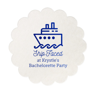 Personalize coasters with a funny saying perfect for a boat themed bachelor or bachelorette party. This Shipped Face design with our Yacht graphic and Royal Blue foil will bring the festivities to the bar!