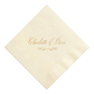 Our personalized Ivory Cocktail Napkin with Satin 18 Kt. Gold Foil has a Flourish 17 graphic and can't be beat. Showcase your style in every detail of your party's theme!