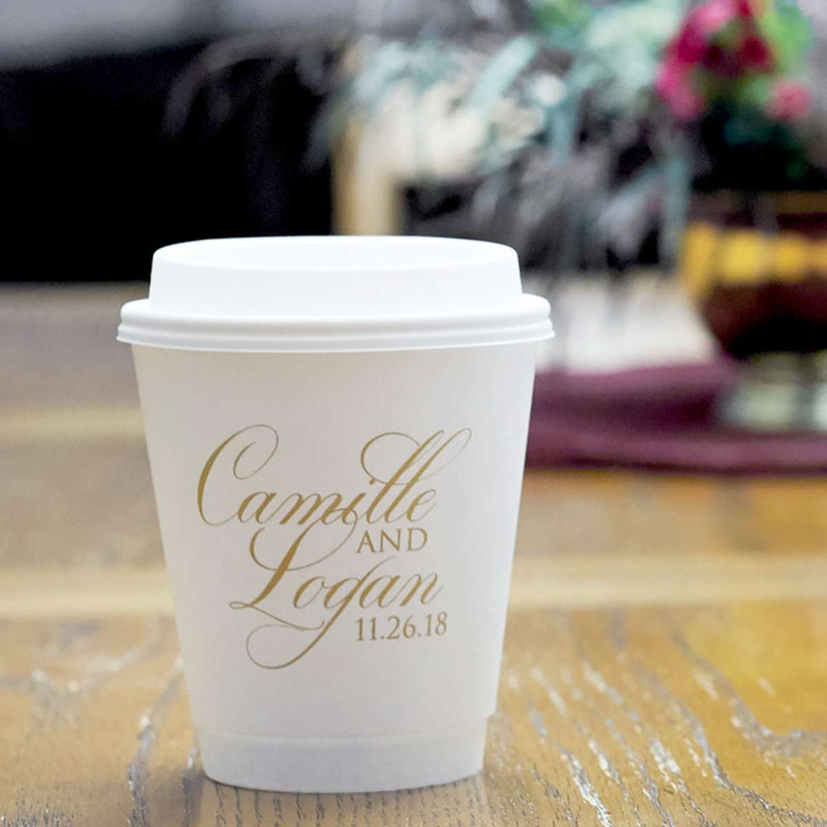 personalized paper coffee cups for your wedding