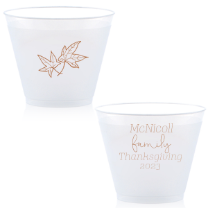 The ever-popular 14 oz Frost Flex Cup with Copper Ink has a Two Leaves graphic and is good for use in Autumn and Thanksgiving themed parties and will add that special attention to detail that cannot be overlooked.