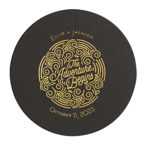 Personalized Eggshell Square Coaster with Shiny 18 Kt Gold Foil Color has a Adventure Swirl graphic and is good for use in Wedding themed parties and couldn't be more perfect. It's time to show off your impeccable taste.