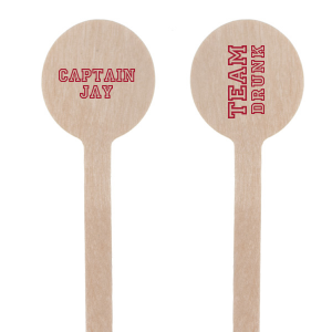 Ideal for a baseball themed bachelor party, personalize these stir sticks for a team drunk grand slam! Our Baseball graphic and classic varsity sports block font will be the perfect complement to your groom's name. Add to drinks and the bar to keep the details festive.