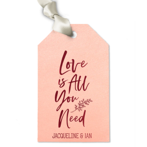 Personalized Watercolor Rose Large Rectangle Gift Tag with Shiny Merlot Foil has a LeafFrameRSVP graphic and is good for use in Lovely Press, Frames themed parties and can be customized to complement every last detail of your party.