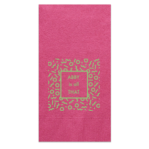 Custom Fuchsia Cocktail Napkin with Matte Key Lime Foil has a Confetti Frame graphic and is good for use in Birthdays, Bar/Bat Mitzvahs, and Graduations and will give your party the personalized touch every host desires.