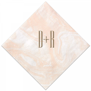 The ever-popular Marble Blush Foil Embossed Cocktail Napkin with Shiny Champagne Foil will add that special attention to detail that cannot be overlooked.