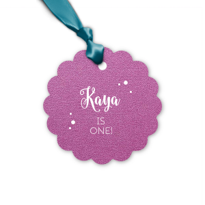 Custom Stardream Plum Butterfly Gift Tag with Matte White Foil Color can be personalized to match your party's exact theme and tempo.