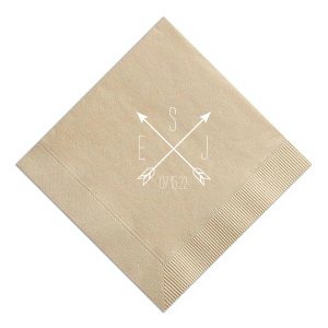 Our custom Sand Cocktail Napkin with Matte White Foil has a Cross Arrows graphic and is good for use in Wedding themed parties and can be customized to complement every last detail of your party.