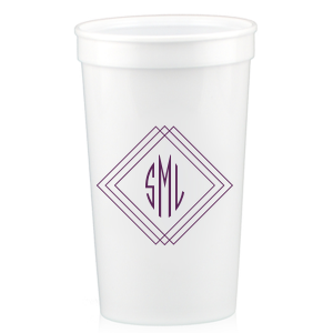 Our beautiful custom Silver 16 oz Stadium Cup with Matte Eggplant Ink Cup Ink Colors has a Diamond Frame graphic and Sharp 3 letter monogram and is good for use in  Wedding, and Home  parties and will impress guests like no other. Make this party unforgettable.