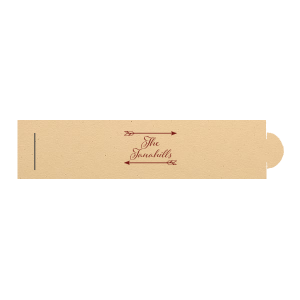 Personalized Natural Sand Napkin Ring with Matte Merlot Foil Color has a Arrow Frame  graphic and is good for hostess gifts or dinner parties and will look fabulous with your unique touch. Your guests will agree!