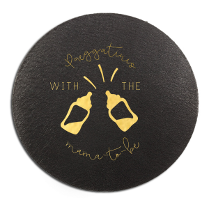 The ever-popular Black with Silver back Hexagon Coaster with Shiny 18 Kt Gold Foil Color has a Baby Bottles graphic and is good for use in Baby Shower themed parties and will add that special attention to detail that cannot be overlooked.