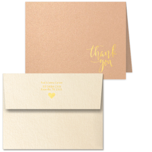 Our personalized Stardream Rose Gold Classic Note Card with Envelope with Shiny 18 Kt Gold Foil has a Thank You graphic and a Solid Heart graphic and is good for use in Wedding, Anniversary, and Shower themed parties and couldn't be more perfect. It's time to show off your impeccable taste.