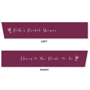 "Our custom Cranberry 5/8"" Satin Ribbon with Matte White Foil and Wine Glasses will look fabulous with your unique touch. Your guests will agree!"