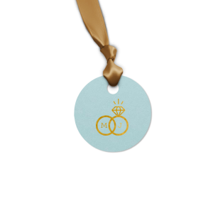 Custom Poptone Sky Blue Luggage Gift Tag with Shiny 18 Kt Gold Foil Color has a Happy Anniversary 2 graphic and is good for use in Words themed parties and will make your guests swoon. Personalize your party's theme today.
